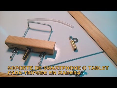 Soporte de smartphone o tablet en madera y metal para tr pode asurekazani - Soporte para tablet ...