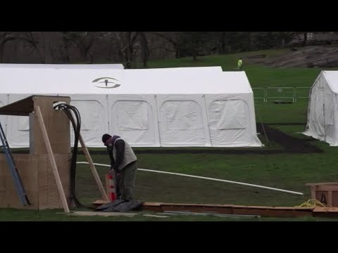 Central Park Turns Into Tent Hospital For Coronavirus Patients