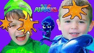 PJ Masks NIGHT NINJA TROUBLE with Gekko & Catboy on GIANT BOUNCE CASTLE SLIDE!
