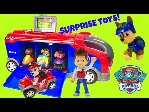 Paw Patrol Mission Cruiser with Magical Toy Surprises Pups New Vehicles - Stop Motion