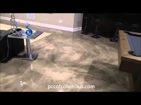 Epoxy Metallic Marble Basement Floor Decorative Concrete