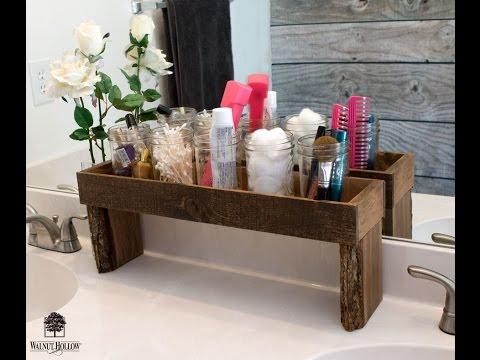 DIY Rustic Ledge Bathroom Organizer by Walnut Hollow