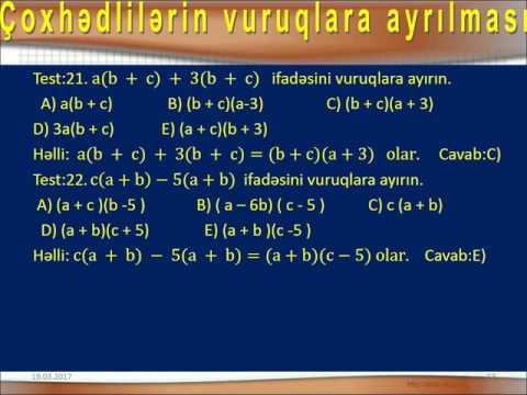 TQDK nin 1994-2015 Testlər Toplusu Çoxhədlinin vuruqlara ayrılması Qayda və test 1-45