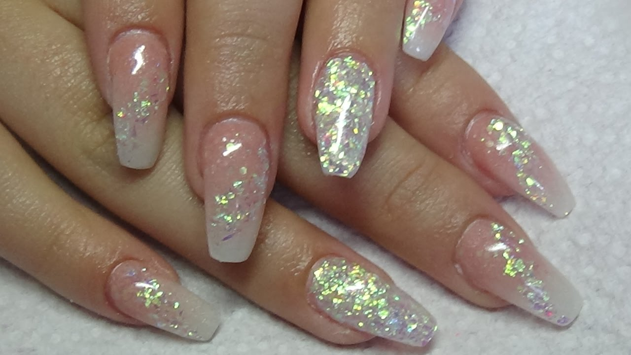 ombre acrylic nails with shimmer flakes using cjp - YouTube