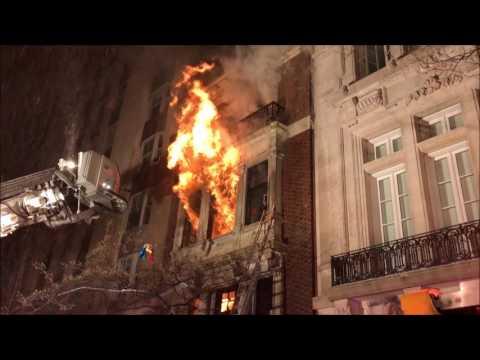 FDNY BATTLING MAJOR 3RD ALARM FIRE ON EAST 84TH STREET ON THE EAST SIDE OF MANHATTAN, NEW YORK.