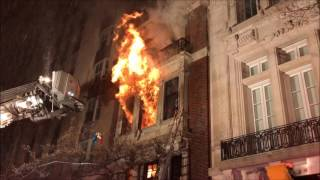 FDNY BATTLING MAJOR 3RD ALARM FIRE ON EAST 84TH STREET ON THE EAST SIDE OF MANHATTAN, NEW YORK.