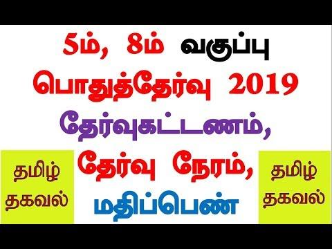 TN 5th, 8th Public Exam 2019 Fees, Time, Mark, Syllabus