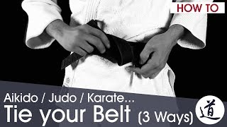 How to Tie your Aikido / Judo / Karate Belt - 3 Methods - Very Detailed (w/ subtitles)(Here's the direct links to each method: First method (small knot): 1:08 Second method (secure knot): 3:24 Third method (double knot): 4:35 In our second