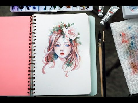 Flower Girl Portrait   Watercolor Timelapse by Margaret Morales