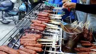 Asian Street Food | Phnom Penh Street Food - Yummy Grilled, Skewered Beef And Dessert