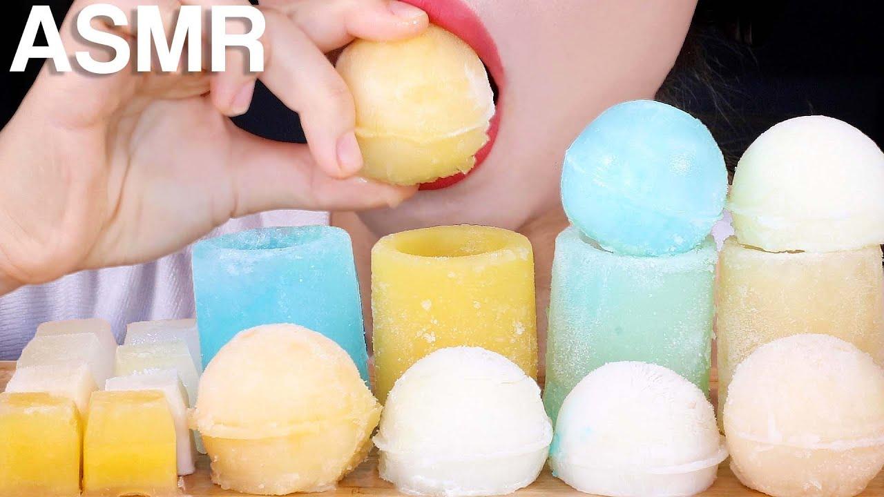 ASMR Crunchy ICE Frozen Milk 얼음 먹방 Eating Sounds Mukbang