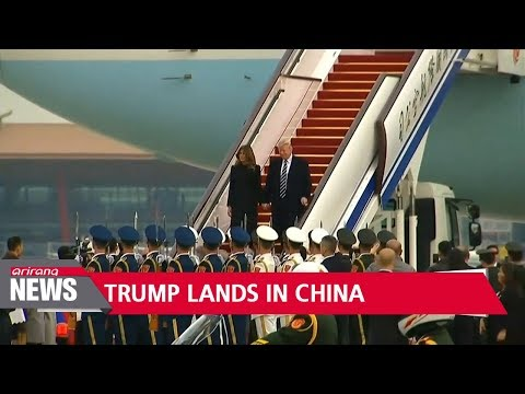 U.S. President Trump lands in China for three-day visit