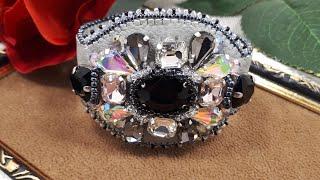 Вышивка браслета кристаллами,бисером.