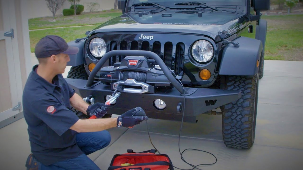 warn bumper and zeon winch install how to upgrade jeep wrangler jk rh youtube com Winch Solenoid Wiring Diagram how to wire winch jeep wrangler