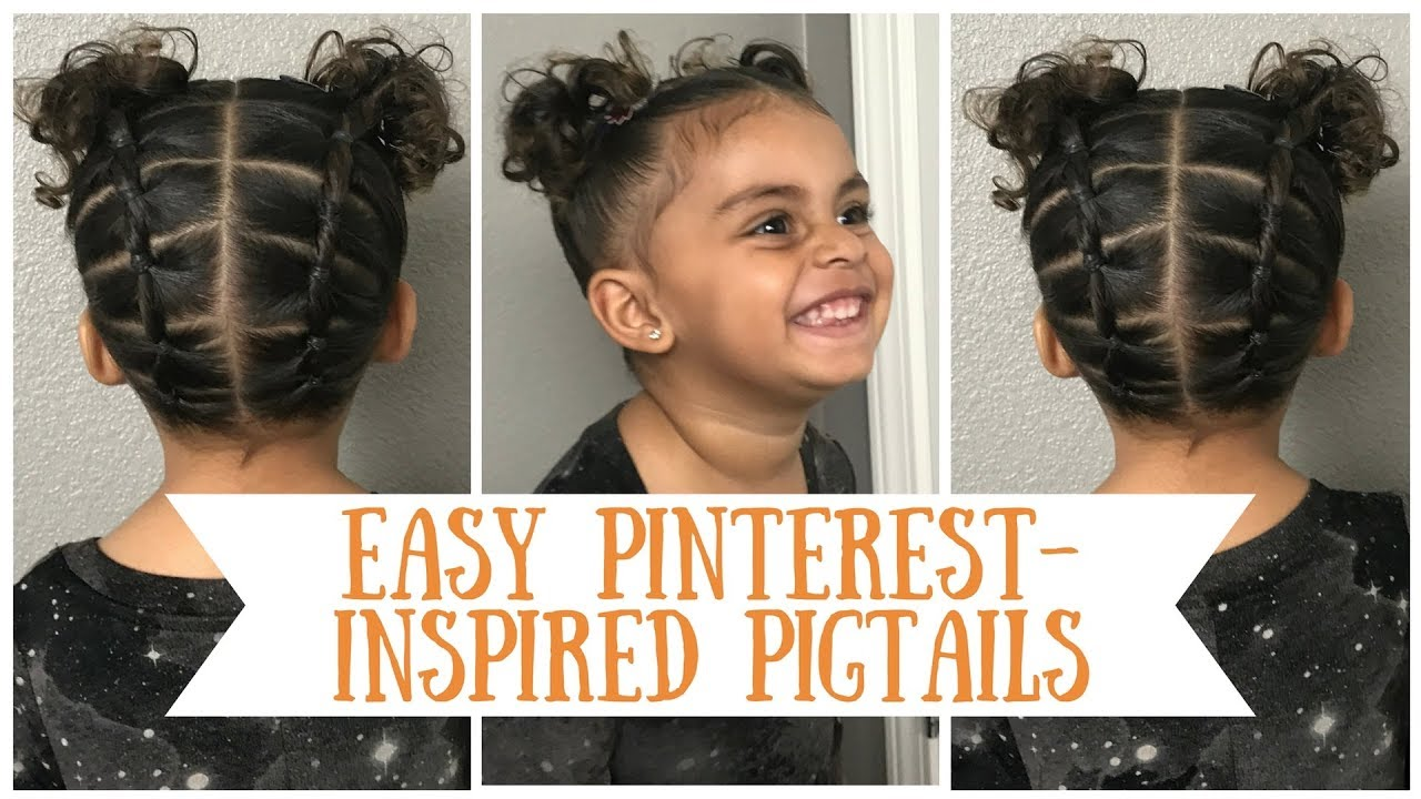 easy beginner pinterest inspired pigtail hairstyle tutorial for curly short biracial toddler in 4k