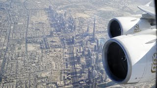 BEST A380 Dubai Take Off? EMIRATES Airbus A380 Departs DXB Dubai Intl Airport, Burj Khalifa View