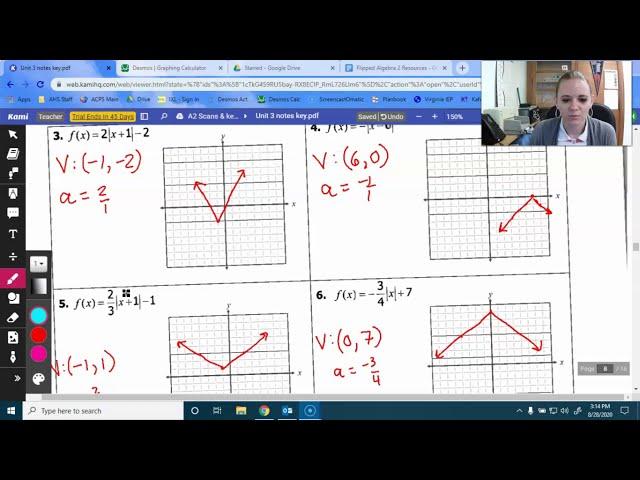 Algebra 2: Vertex Form of Absolute Value Function