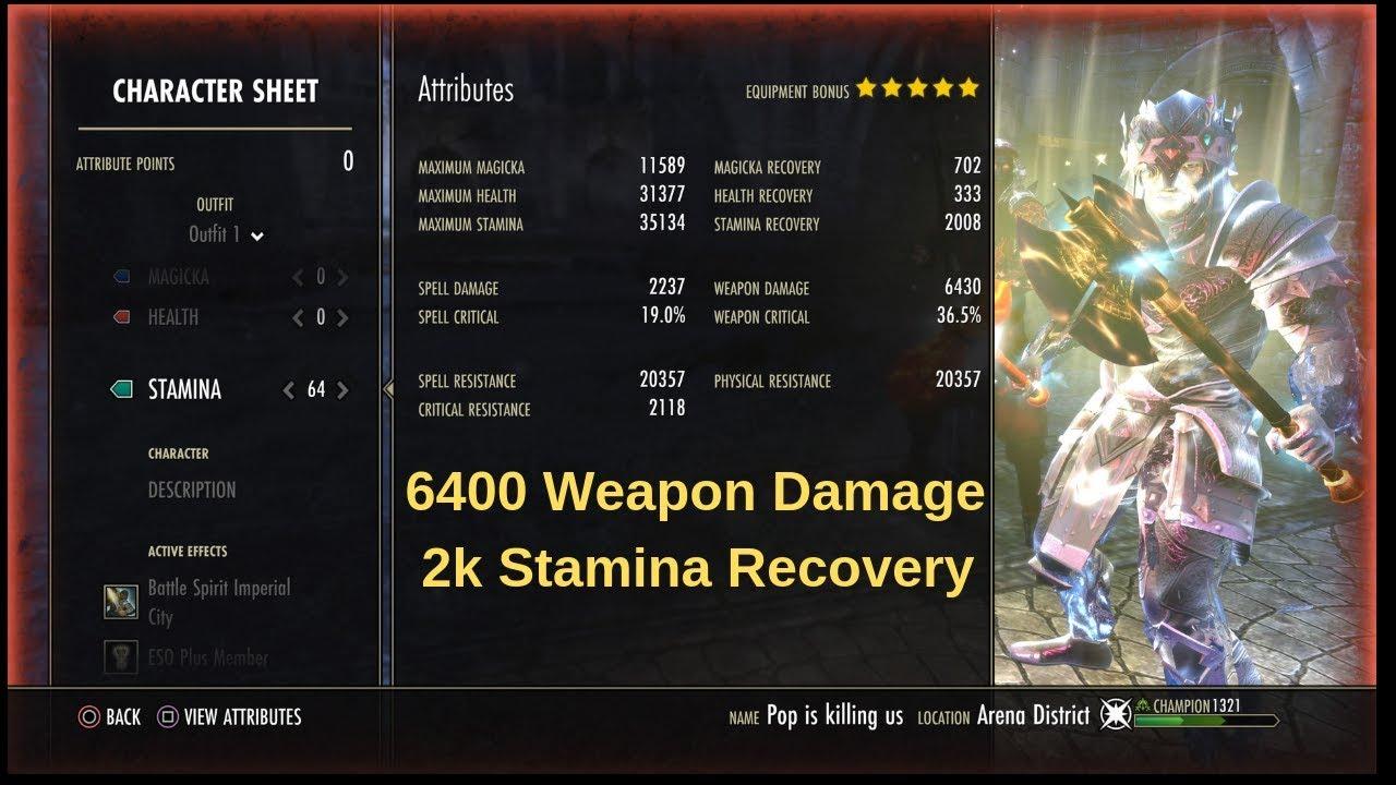 (ESO) Wrathstone - Medium Armor Stamina Warden PvP Build