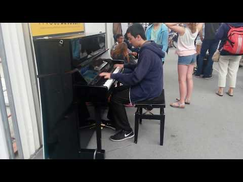 Marc plays piano at Rennes, France train station-8/4/2017