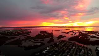 Tropical Sunset After the Storm Over Cocoa Beach Aerial Video