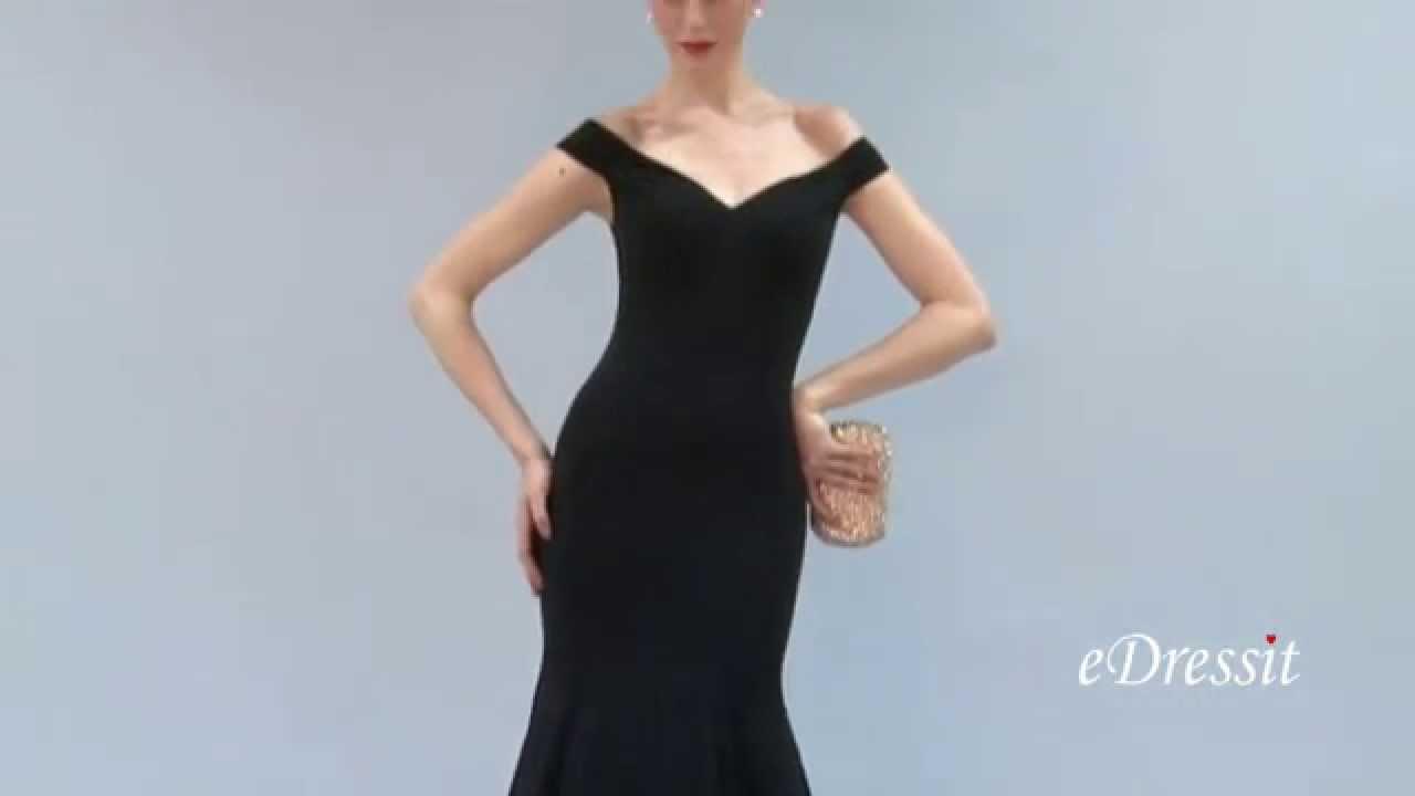 eDressit Off Shoulder V Neck Black Prom Dress Formal Gown - YouTube