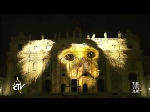 Projections of wildlife threatened by climate change light up St. Peter's Basilica