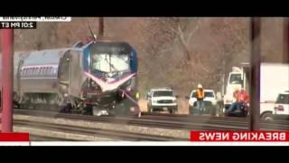 Amtrak Train Derails after hit Backhoe Footage
