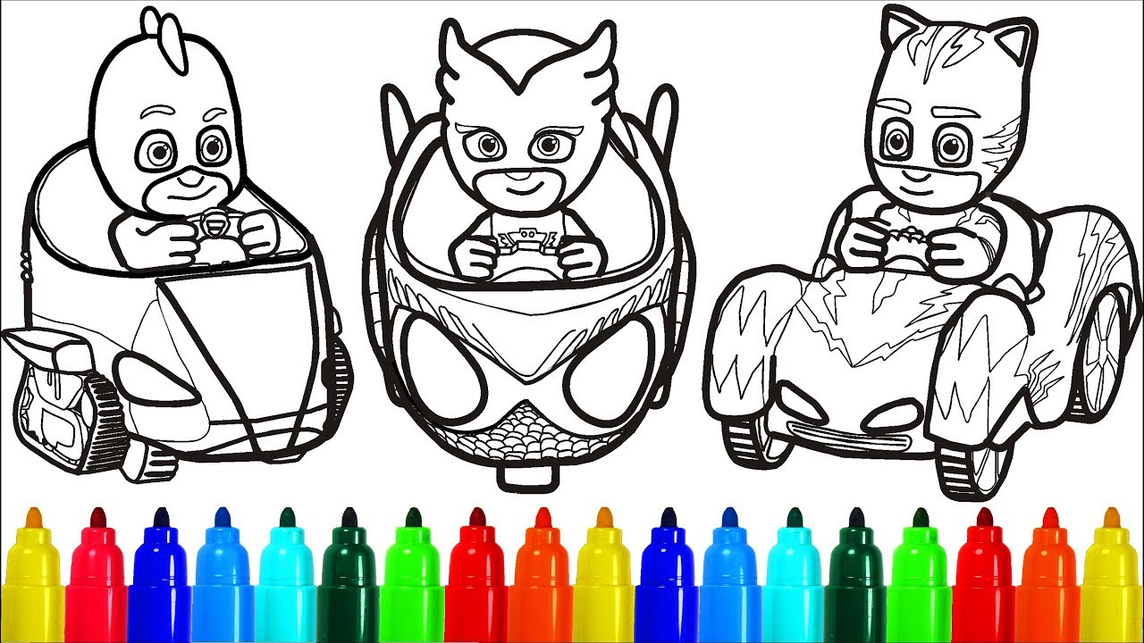 Pj Masks On Cars Coloring Pages Colouring Pages For Kids With Colored Markers Youtube