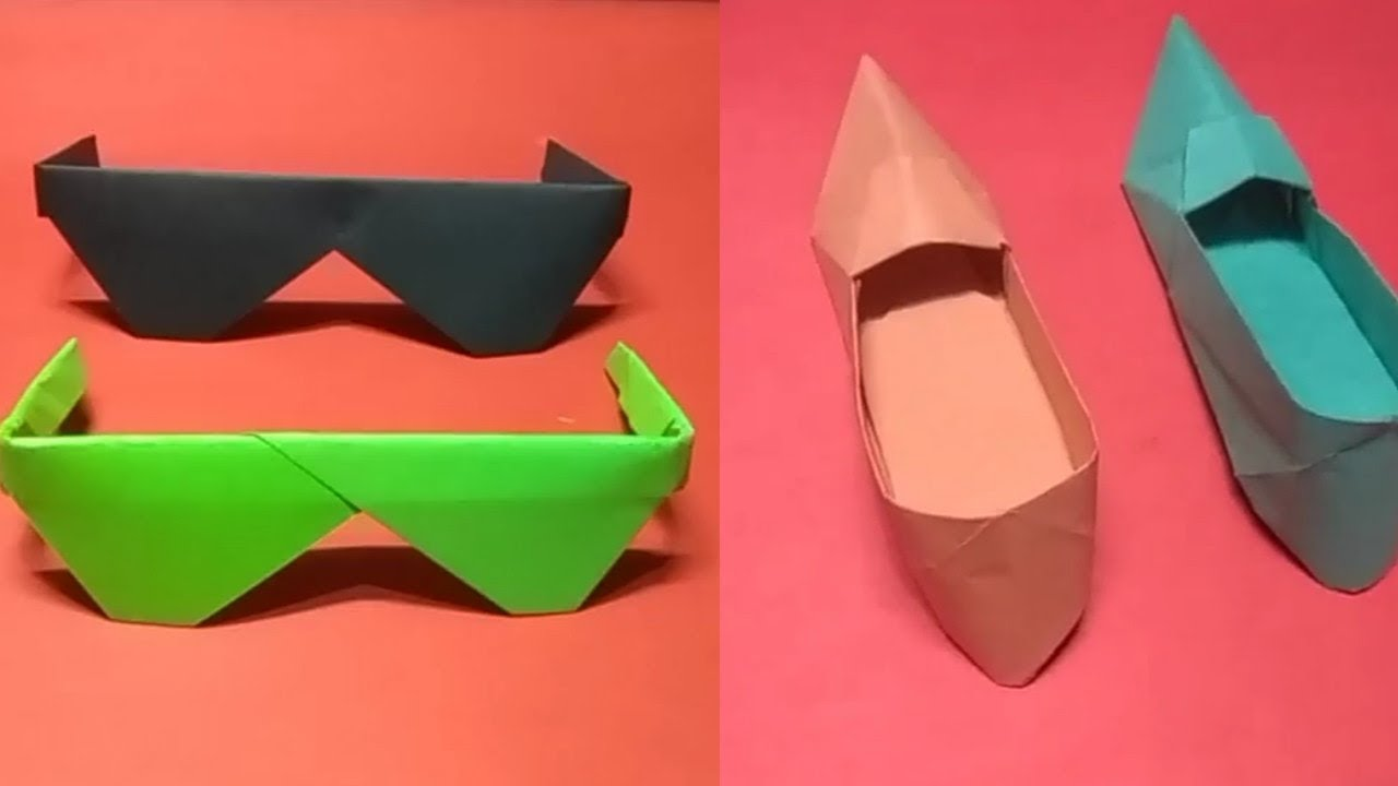 2d2dbb835d08 how to make paper goggle and shoes - YouTube