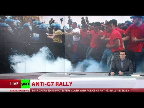 Violent clashes erupt at G7 protest in Italy as summit ends