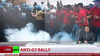 Violent clashes erupt at G7 protest in Italy as summit ends thumbnail