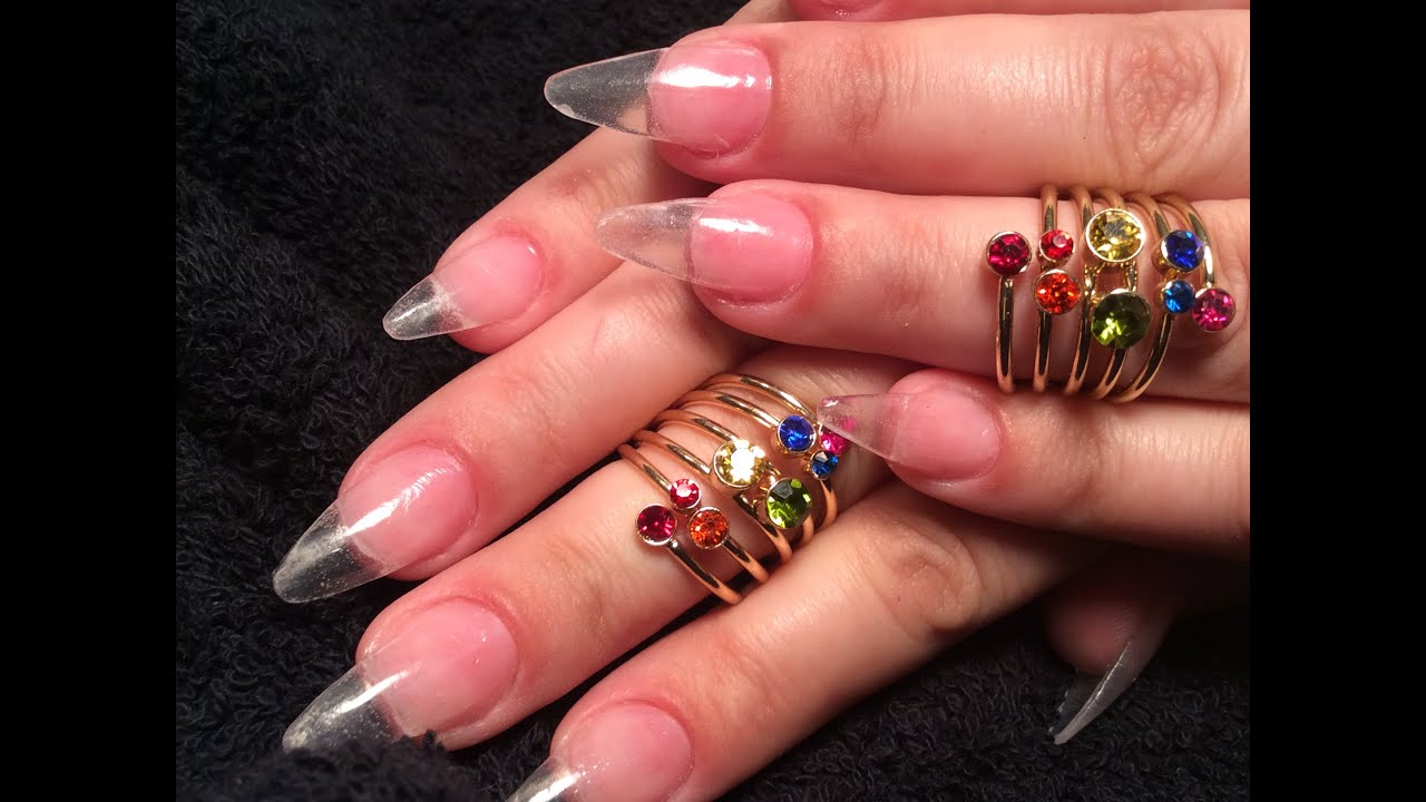 Stiletto Clear Acrylic Nails - YouTube