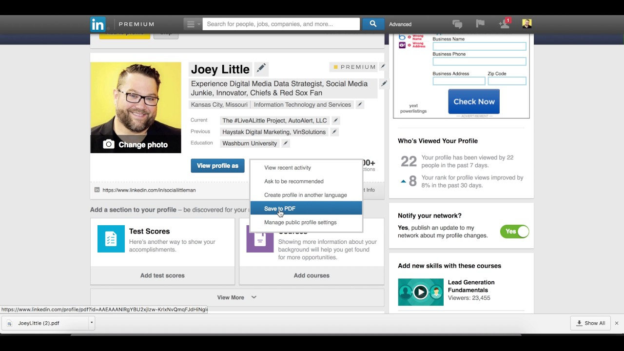 How To Download Your Linkedin Profile As A Pdf