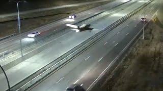 Plane crashes into traffic on US motorway