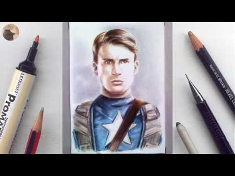 Chris Evans miniature portrait timelapse WIP animation