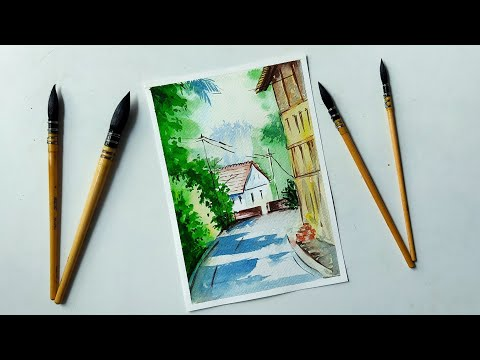 WATERCOLOUR PAINTING🎨: Draw a easy roadside village scenery with watercolour|| for beginners||