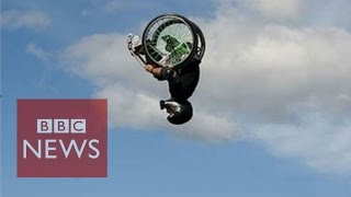 Wheelz does double back flip in a wheelchair - BBC News