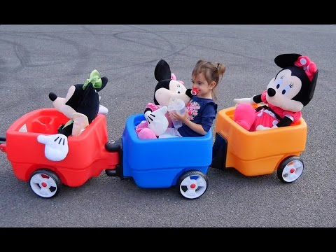 Minnie Mouse  Ride Kids Wagon / The Wheels on the Bus / Learn Colours