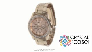 Rose Gold Geneva Crystal Rhinestone Chronograph Watch with Metal Link Band