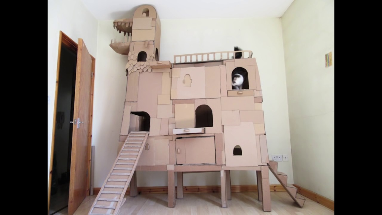 Crazy cardboard cat tree youtube for Castle cat tower
