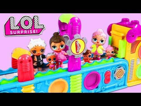 LOL Surprise Dolls Visit Play Doh Mega Fun Factory Playset for Surprise Toys!