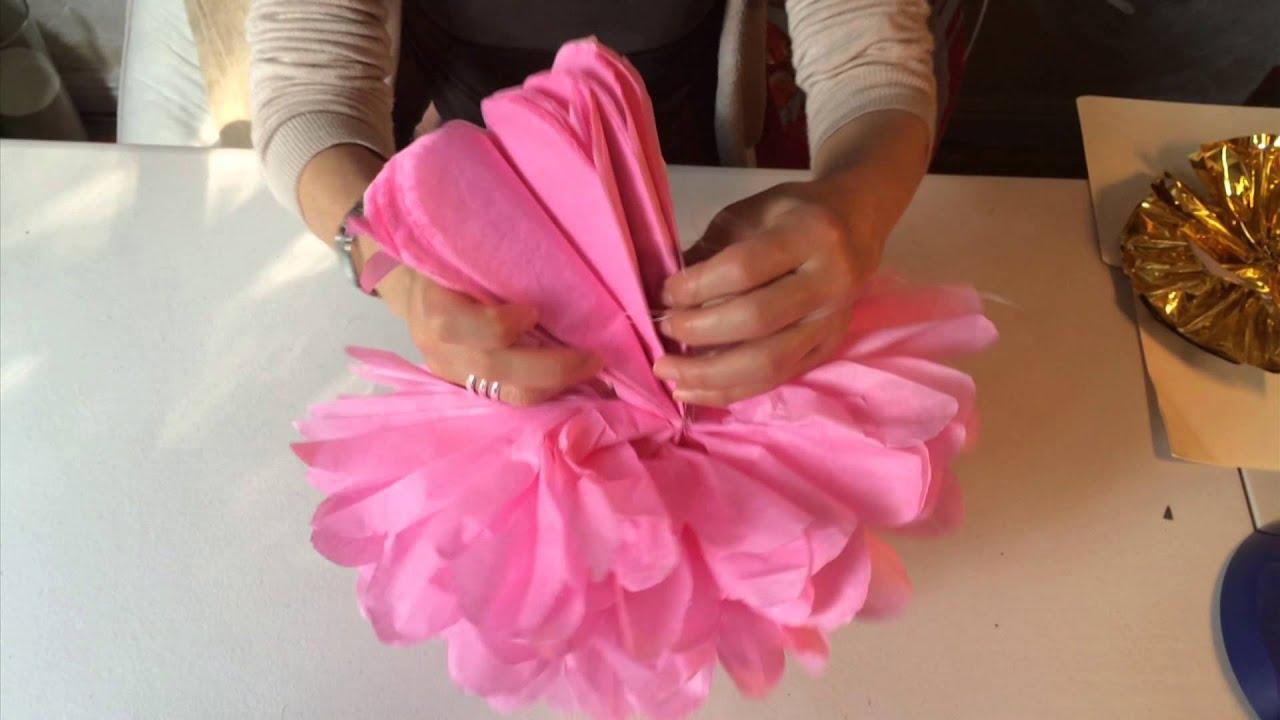 Como abrir pompones de papel china youtube - Como se hacen flores de papel ...