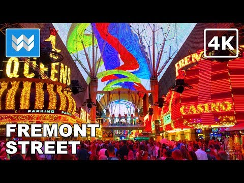 Walking tour of Fremont Street in Downtown Las Vegas 2018【4K】