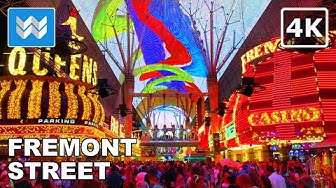 Walking tour of Fremont Street at Night in Downtown Las Vegas Travel Guide【4K】
