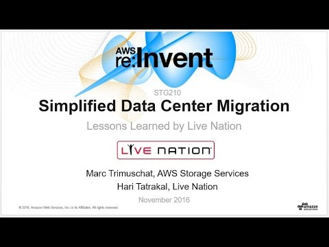 AWS re:Invent 2016: Simplified Data Center Migration—Lessons Learned by Live Nation (STG210)