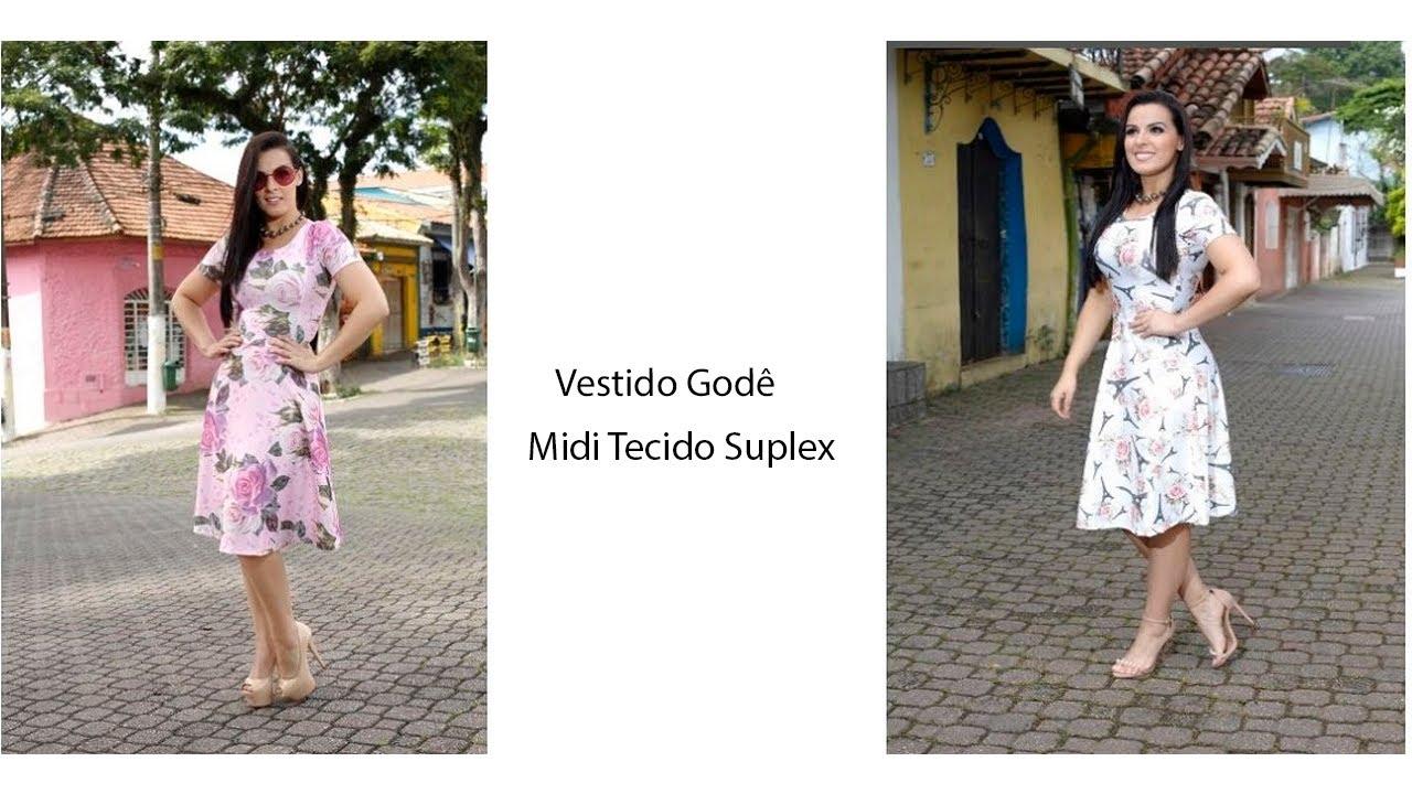 8d05a123a Vestido Gode Midi Tecido Suplex Estampado - YouTube