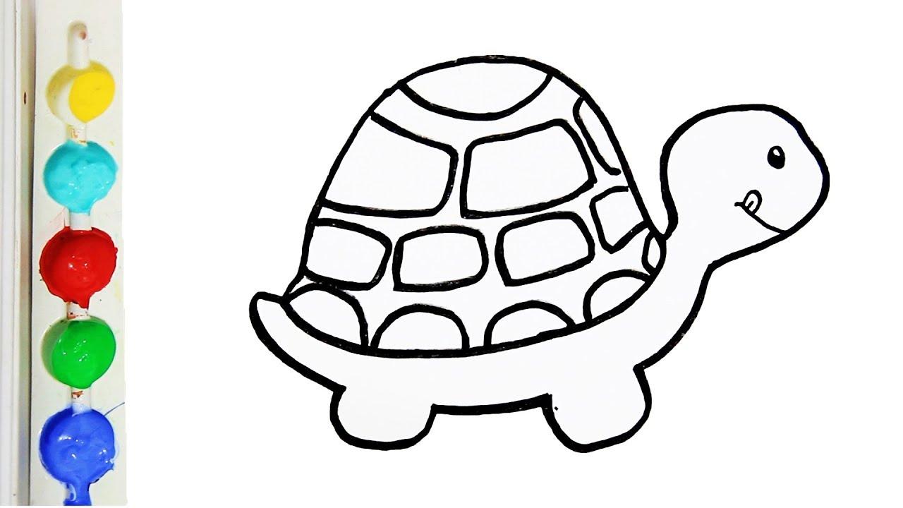 Cara Menggambar Dan Mewarnai Hewan Kura Kura Glitter Turtle Coloring Page For Kids