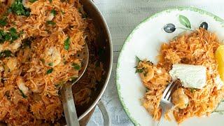 Shrimp Saganaki Pilaf: 30 Minute One Pot Wonder!