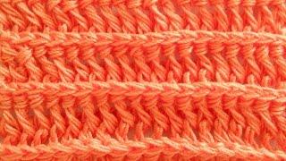 Узор Рельефные лицевые столбики с накидом - Crochet pattern Embossed facial bars with sc