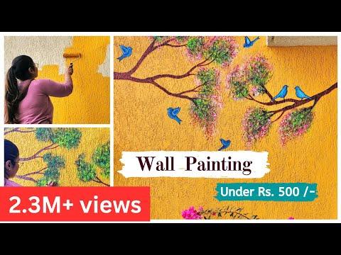 Wall Painting Design Idea For Balcony Tree Bird Wall Painting Garden Decor Part 2 Youtube